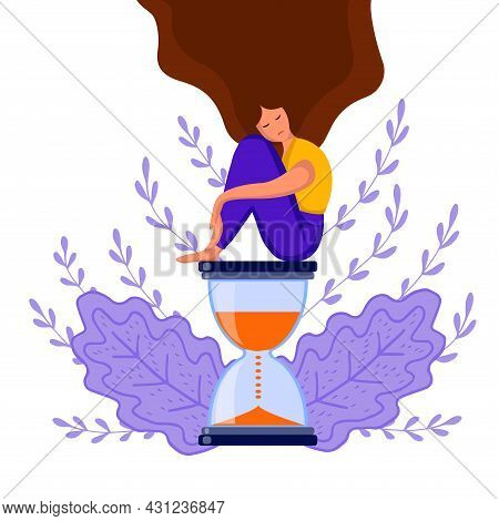 Girl Sitting Hourglass 2 Dd Ww Isol People