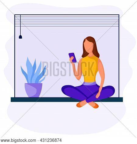 Girl Sitting With Phone 4 Dd Ww Isol