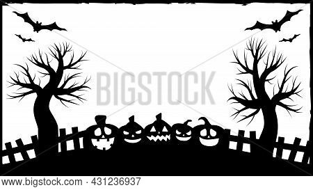 Halloween Party Invitations Or Greeting Cards Banner With Traditional Halloween Symbols. Flyer With
