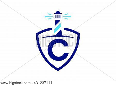 Initial C Monogram Alphabet In A Shield With The Lighthouse. Harbor Logo. Font Emblem. Modern Vector