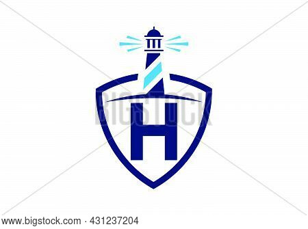 Initial H Monogram Alphabet In A Shield With The Lighthouse. Harbor Logo. Font Emblem. Modern Vector