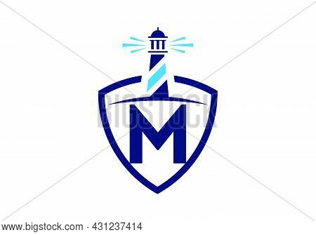 Initial M Monogram Alphabet In A Shield With The Lighthouse. Harbor Logo. Font Emblem. Modern Vector