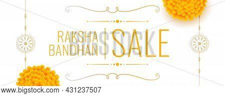 Traditional Raksha Bandhan Indian Style Banner With Marigold Flower And Rakhi Design