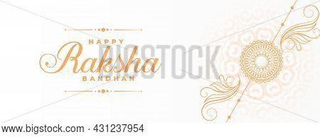 Happy Raksha Bandhan Traditional Sale Banner With Decorative Hand Drawn Rakhi