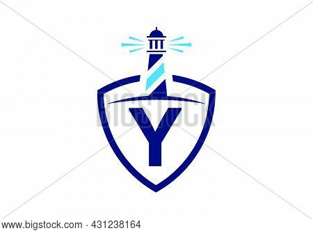 Initial Y Monogram Alphabet In A Shield With The Lighthouse. Harbor Logo. Font Emblem. Modern Vector