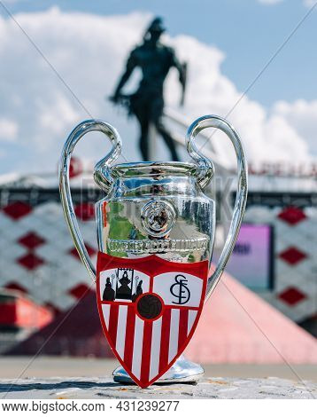 June 14, 2021 Seville, Spain. The Emblem Of The Sevilla Fc Football Club And The Uefa Champions Leag