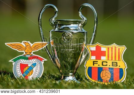 August 27, 2021 Lisbon, Portugal. The Emblems Of Football Clubs S.l. Benfica And Fc Barcelona And Th