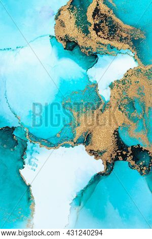Luxury Blue Abstract Background Of Marble Liquid Ink Art Painting On Paper . Image Of Original Artwo