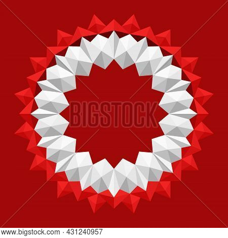 3d Geometric Floral Frame Pattern. Origami Paper Circle In White And Red, Mandala Style. Element Des