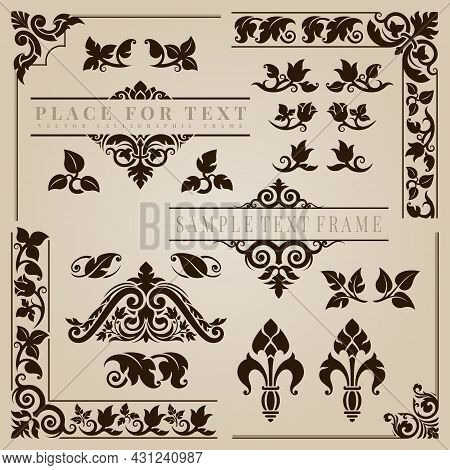 Calligraphic Frame Corner In The Style Of Applied Thai Art Patterns. Classic Ornament Element. Decor