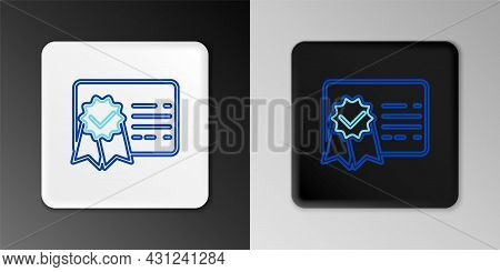 Line Certificate Template Line Icon Isolated On Grey Background. Achievement, Award, Degree, Grant,