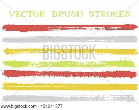 Funky Ink Brush Strokes Isolated Design Elements. Set Of Paint Lines. Grungy Ink Brushe Stripes Isol