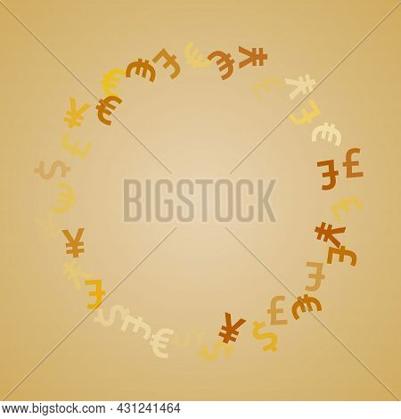 Euro Dollar Pound Yen Golden Signs Flying Currency Vector Illustration. Commerce Pattern. Currency
