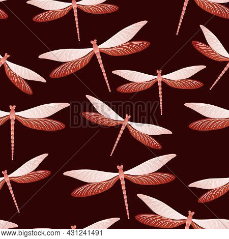 Dragonfly Vintage Seamless Pattern. Summer Clothes Textile Print With Flying Adder Insects. Garden
