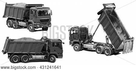 Dump Trucks Transport And Empty The Earth From The Body. Set Of Dump Trucks In Different Angles Isol