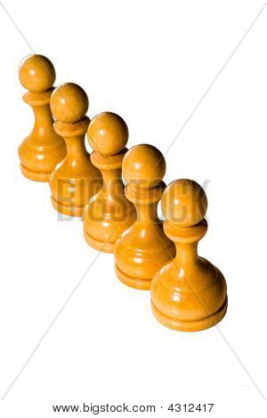 Teamwork concept. Chess figures bishops. Isolated on a white background. Studio work. poster
