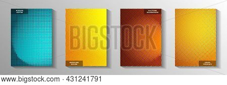 Random Dot Faded Screen Tone Cover Templates Vector Series. Scientific Booklet Perforated Screen