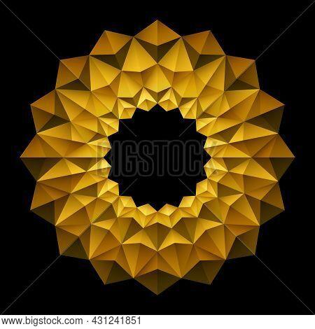 3d Geometric Gold Floral Frame Pattern On Black Background. Origami Circle Mandala Style. Element De