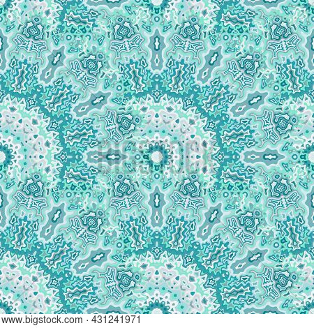Peacock Flower Seamless Pattern. Arabic Ethnic Vector Composition. Intricate Traditional Mandala Flo