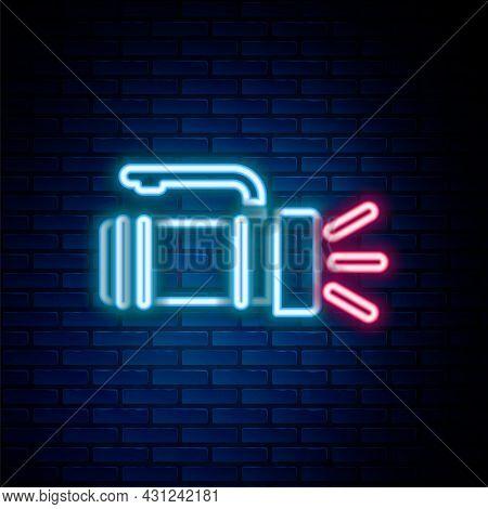 Glowing Neon Line Flashlight Icon Isolated On Brick Wall Background. Tourist Flashlight Handle. Colo