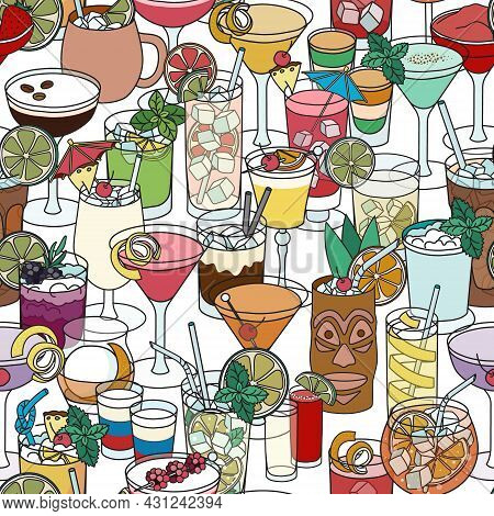 Multicolor Cocktail Seamless Pattern. Hand-drawn Cartoon Doodle Style Vector Seamless Pattern With V