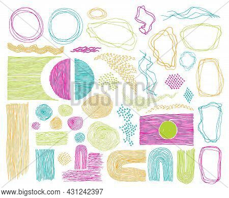 Doodle Frames, Lines And Dots Texture Backgrounds Vector Collection. Pen Hand Drawn Borders, Design
