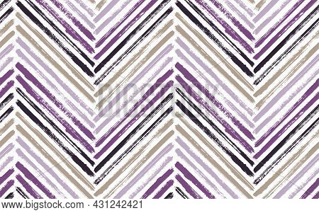 Colorful Chevron Fashion Print Vector Seamless Pattern. Paintbrush Strokes Geometric Stripes. Hand D