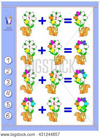 Educational Page For Children On Addition. Solve Examples And Write The Numbers In Circles. Printabl
