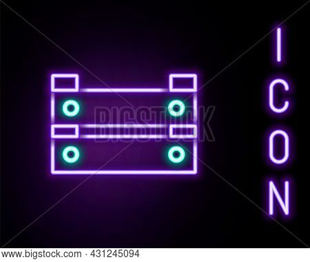 Glowing Neon Line Wooden Box Icon Isolated On Black Background. Grocery Basket, Storehouse Crate. Em