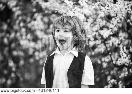Happiness. Excited Kid. Adorable Boy Spring Garden. International Childrens Day. Happy Childhood. He