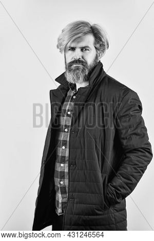 Handsome Bearded Man In Spring Jacket. Fashion Photo. Outdoor Portrait Of Mature Fashionable Male. M