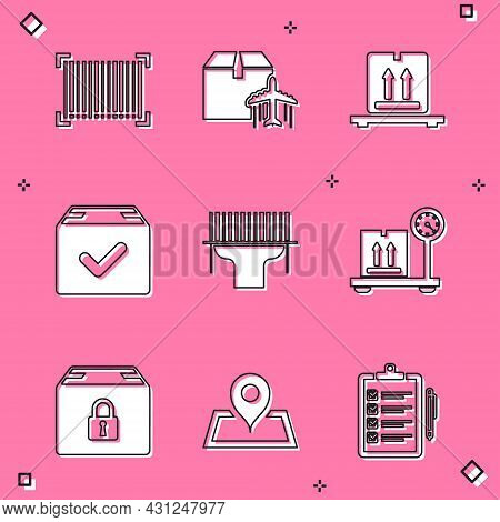 Set Barcode, Plane And Cardboard Box, Cardboard Boxes On Pallet, Package With Check Mark, Scanner Sc