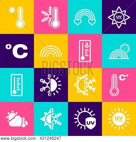 Set Uv Protection, Meteorology Thermometer, Rainbow With Sun, Heart, Celsius, And Icon. Vector