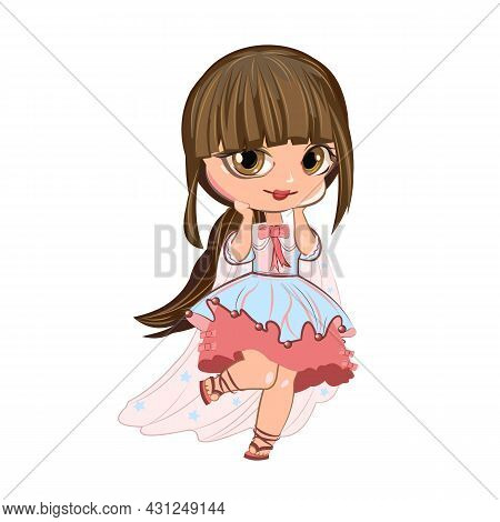 Little Girl In A Beautiful Dress. Flirts. Handsome Fashionable Child. The Isolated Object On A White