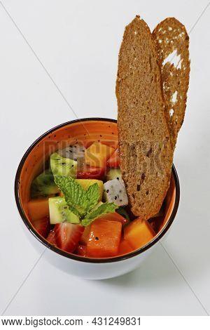 Mixed Fruit Bowl Includes Kiwi, Berries, Papaya, Dragonfruit, Melon Etc.