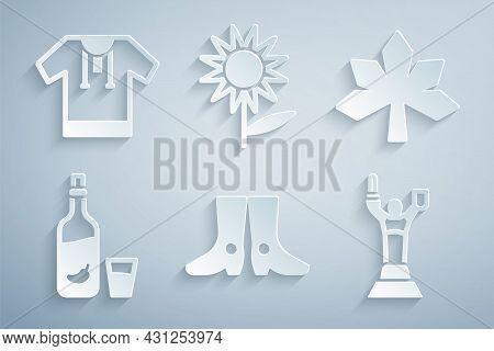 Set Ukrainian Footwear, Chestnut Leaf, Vodka With Pepper And Glass, Mother Motherland Monument, Sunf