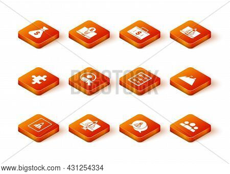 Set Startup Project Concept, Piece Of Puzzle, Create Account Screen, Abacus, Users Group And Mountai
