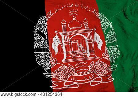 Full Frame Close-up On A Waving Afghani Flag.