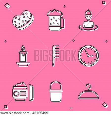 Set Bath Sponge, Wooden Beer Mug, Man In The Sauna, Aroma Candle, Hairbrush, Sauna Clock, Cream Or L