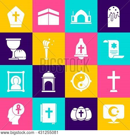 Set Star And Crescent, Christian Cross, Torah Scroll, Hindu Spiritual Temple, Aspergillum, Holy Grai