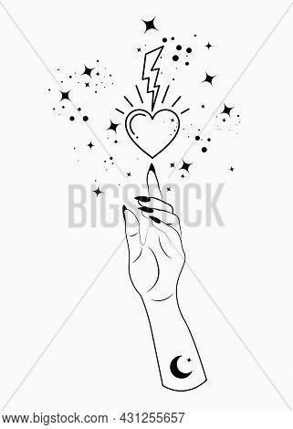 Mystical Woman Hand Alchemy Esoteric Magic Space Stars, Lightning And Sacred Heart Symbol. Boho Styl