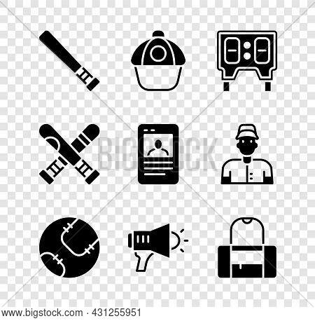 Set Baseball Bat, Cap, Mechanical Scoreboard, Megaphone, Sport Bag, Crossed Baseball And Card Icon.