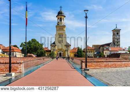 Orthodox And Catholic Cathedral View On Sunny Day In Alba Iulia, Romania, 2021
