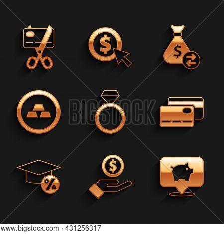 Set Diamond Engagement Ring, Hand Giving Money, Piggy Bank, Credit Card, Graduation Cap Coin, Gold B