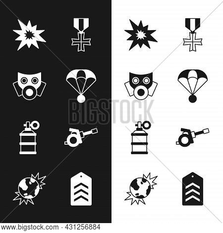Set Parachute, Gas Mask, Bomb Explosion, Military Reward Medal, Hand Smoke Grenade, Howitzer, Chevro