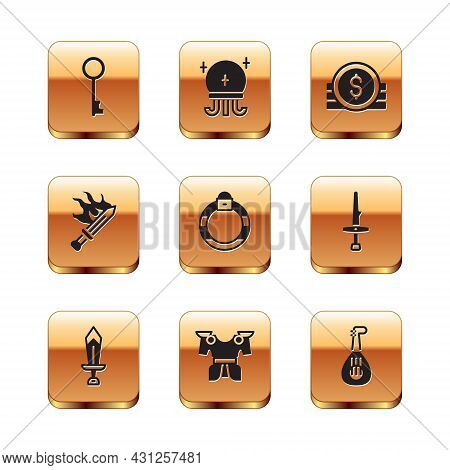 Set Old Key, Sword For Game, Body Armor, Magic Stone Ring, Ancient Coin, Lute And Ball Icon. Vector
