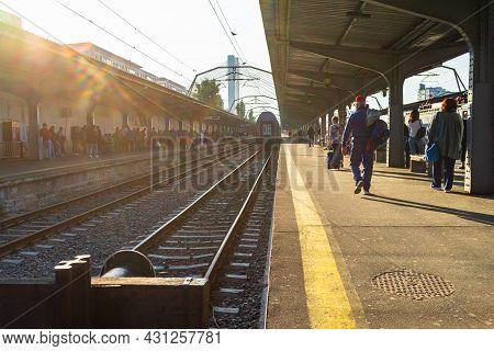 Train Detail And Train Platform At Bucharest North Railway Station (gara De Nord Bucharest) In Bucha