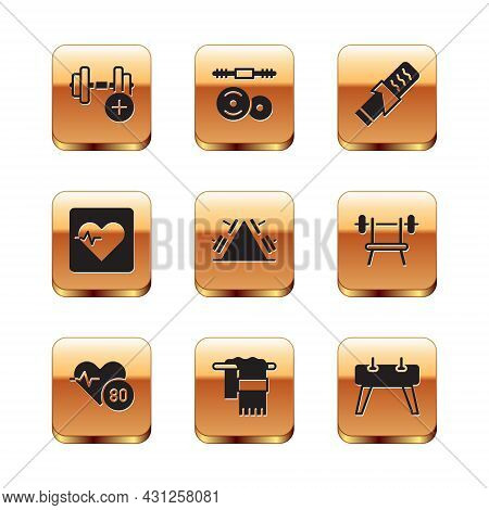 Set Dumbbell, Heart Rate, Towel On Hanger, Metal Rack With Weight, Protein Sport Bar, Pommel Horse A