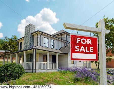 3d rendering of single family house model set for sale