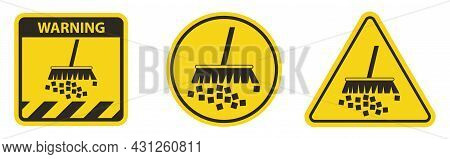 Caution Label Avoid Creating Dust On White Background